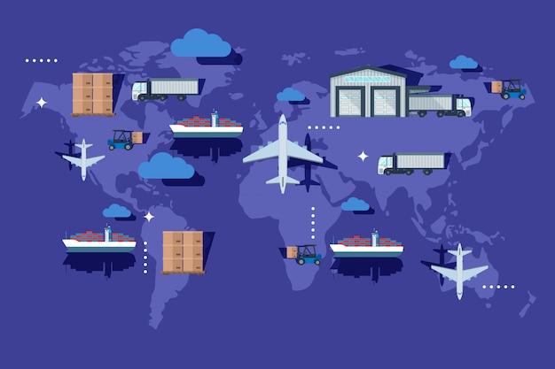 Transport en entrepôt à l'extérieur du conteneur, illustration de livraison. exportation de la production de l'industrie sur la carte du monde, avion