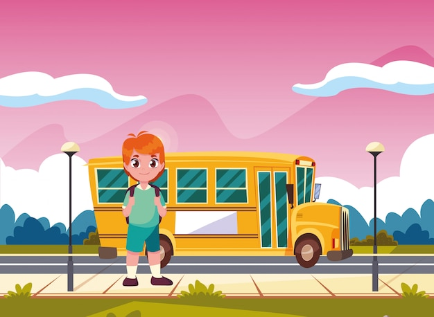 Transport étudiant bus scolaire retour à l'école