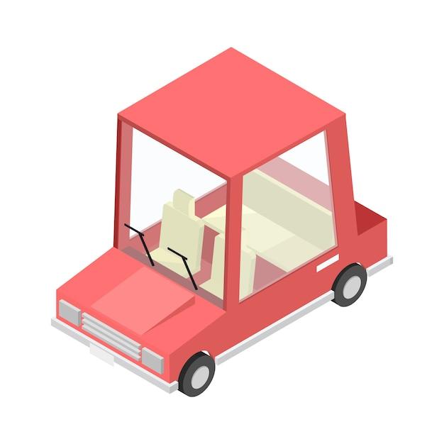 Transport isométrique voiture rouge isolée