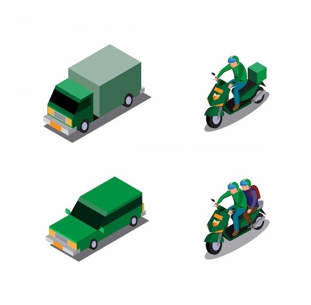 Transport en ligne moto, voiture et courrier avec isométrique uniforme vert