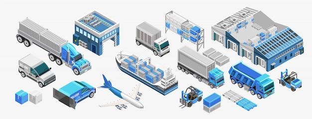 Transport de marchandises bleu et entrepôts