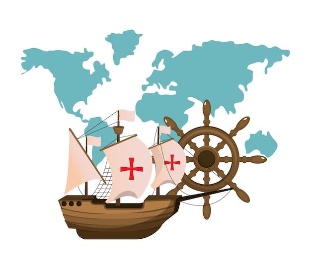 Transport maritime avec carte globale et gouvernail