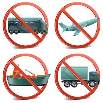 Transport avec panneau d'interdiction isolé sur blanc