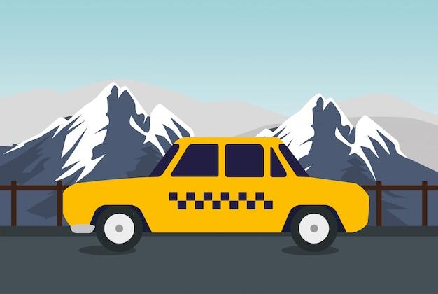 Transport par carte de taxi dans les montagnes enneigées
