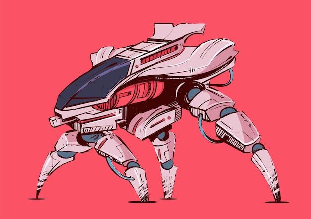 Transport robotique futuriste cyberpunk avec jambes