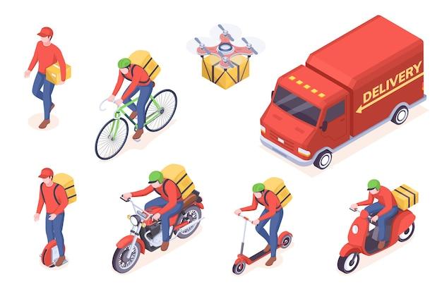 Transport de service de livraison, homme de courrier isométrique et camions. service de livraison de nourriture homme de messagerie avec des boîtes sur scooter monocycle, vélo ou moto, drone livraison colis colis