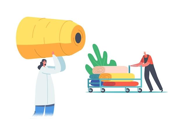 Transport et stockage de production d'usine textile. travailleur avec bobine de fil et rouleaux de tissu sur chariot, fabrication