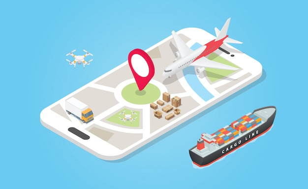 Transport de système de livraison intelligent avec divers modèles comme air terrestre et maritime avec piste d'application téléphonique avec style plat moderne - vecteur