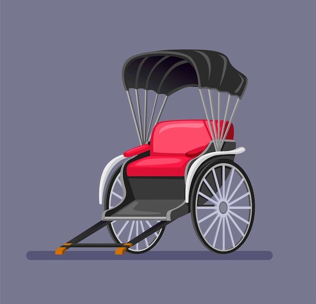 Transport traditionnel de jinrikisha en provenance du japon. véhicule vintage propulsé par l'homme pour une attraction touristique. symbole de concept dans l'illustration de dessin animé