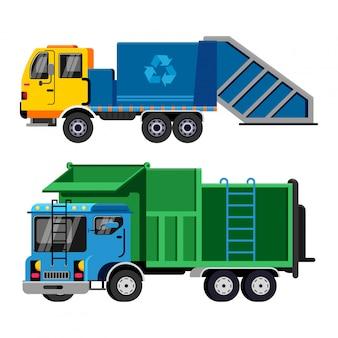 Transport de véhicule poubelle vecteur camion à ordures