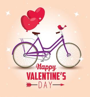 Transport de vélos avec des ballons de coeurs à la saint-valentin