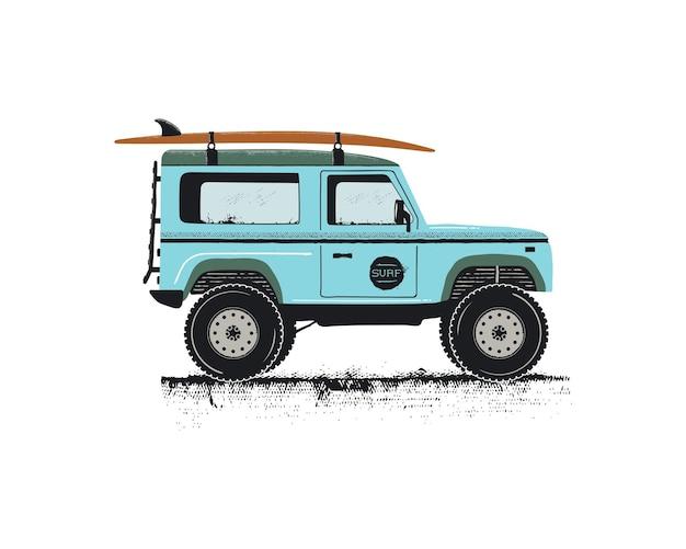 Transport de voiture de surf dessiné main vintage avec planche de surf