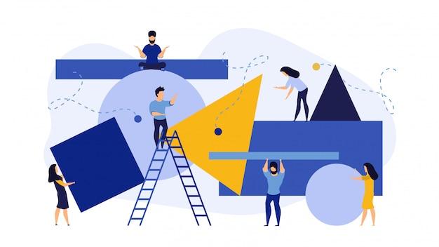 Transporter des gens personne se déplaçant puzzle illustration vectorielle de dessin animé plat puzzle entreprise.