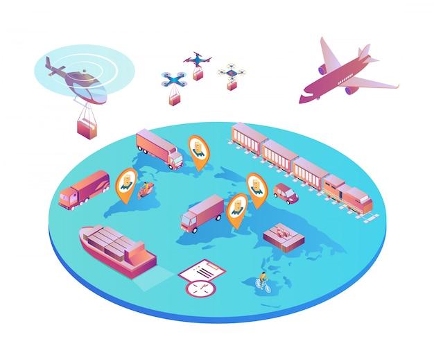 Transports internationaux différents types de transports.
