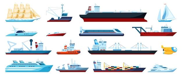 Transports maritimes plats bateaux rapides yachts bateaux de croisière et de pêche sous-marins ensemble de transport maritime