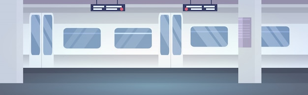 Les transports publics modernes sans personne plate-forme souterraine train dans la station de métro horizontale