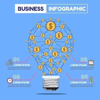 Travail d'affaires infographie et argent de réseau idée