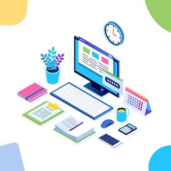 Travail de bureau isométrique avec ordinateur