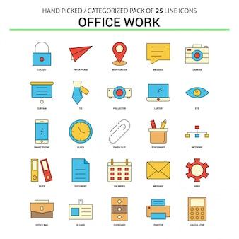 Travail de bureau ligne plate icon set