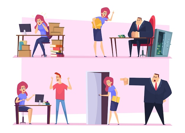 Travail de burn-out. chef d'entreprise trucs paresseux travail en colère patron mauvaise atmosphère employé irrespectueux personnes nerveuses