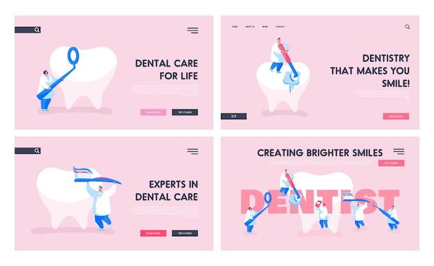 Travail de dentiste dans un ensemble de modèles de page de destination de la clinique de stomatologie