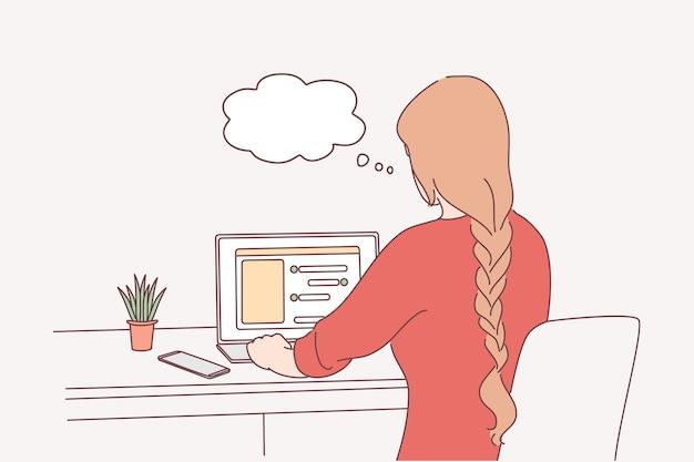Travail à distance, communication en ligne, concept indépendant.