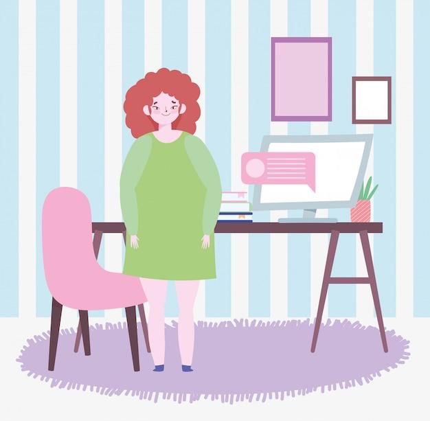 Travail à distance, femme, debout, salle, à, ordinateur bureau, livres, plante, illustration