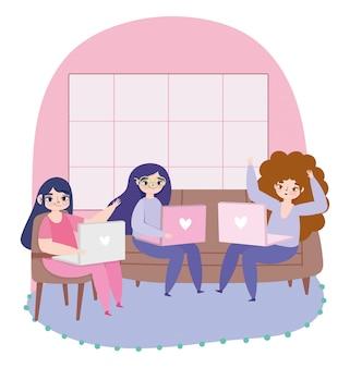 Travail à distance, groupe de femmes avec des appareils portables dans l'illustration de la maison