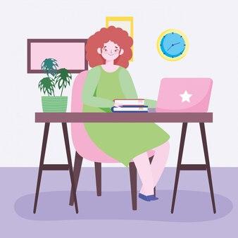 Travail à distance, jeune femme avec ordinateur portable et livres en illustration de bureau