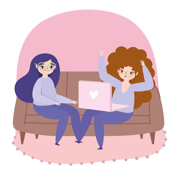Travail à distance, personnages de jeunes femmes avec ordinateur portable sur l'illustration du canapé
