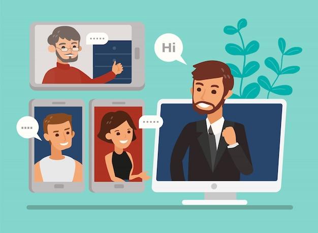 Travail à distance avec une réunion d'équipe commerciale tenue via une conférence vidéo. illustration de concept de réunion en ligne de style design plat. webinaire en ligne, accueil formulaire de travail.