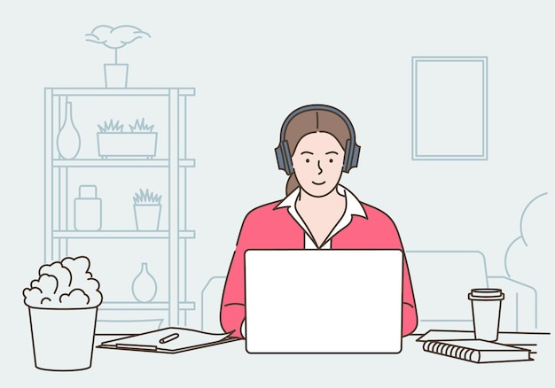 Travail à distance, télétravail et externalisation globale. femme assise à la maison et utilisant un ordinateur portable, communique avec ses collègues. illustration vectorielle plane