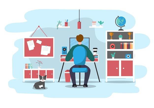Travail à domicile concept de design plat