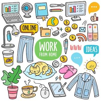 Travail à domicile concept éléments graphiques vectoriels colorés et illustrations de griffonnage