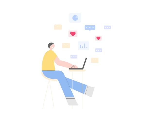 Travail à domicile concept. un jeune homme utilisant un ordinateur portable pour travailler, discuter, envoyer des e-mails. travail intelligent en ligne. lieu de travail à domicile.
