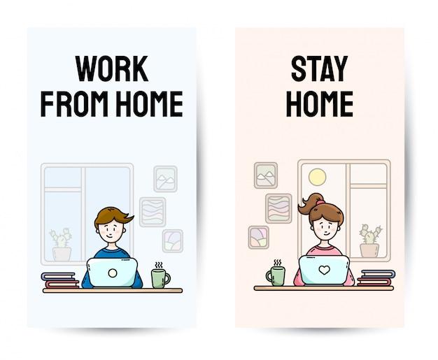 Travail à domicile ensemble de bannières verticales de motivation. pratiquer l'auto-isolement. bureau à domicile. milléniaux assis devant l'ordinateur portable. illustrations de dessin animé de style plat