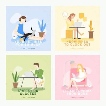 Travail à domicile ensemble de sensibilisation covid-9