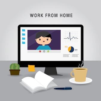 Travail à domicile, équipe commerciale utilisant un ordinateur portable pour une réunion en ligne lors d'une conférence vidéo. les gens à la maison en quarantaine. illustration de dessin animé de personnage