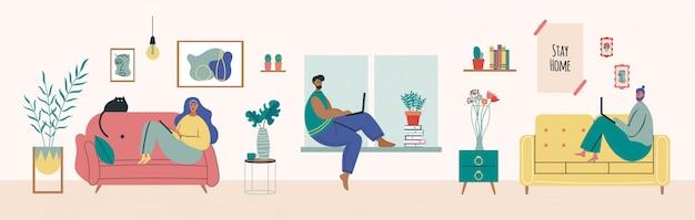 Travail à domicile, espace de coworking, illustration de concept. jeune pigiste travaillant sur ordinateur portable. les gens restent à la maison en quarantaine. style plat