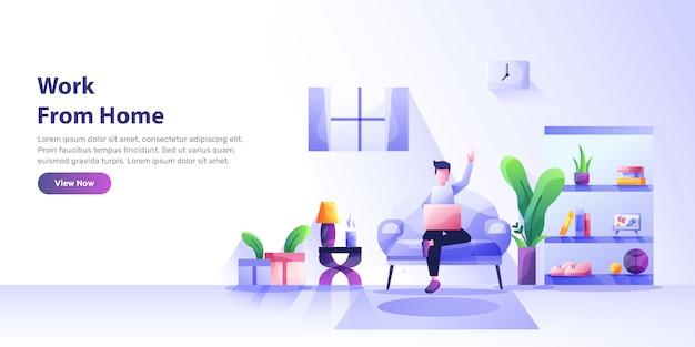 Travail à domicile, espace de coworking, illustration de concept. jeunes, jeunes et femmes indépendants travaillant sur des ordinateurs portables et des ordinateurs à la maison. illustration de style