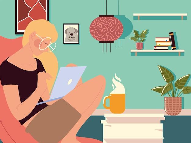 Travail à domicile, femme assise à l'aide d'un ordinateur portable avec tasse à café et plante