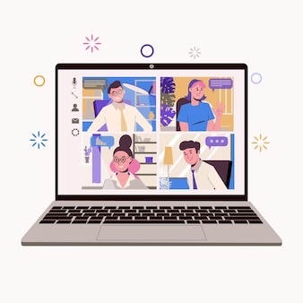 Travail à domicile, freelance, travail à distance en équipe. conversation en ligne entre collègues et employés. service de communication.