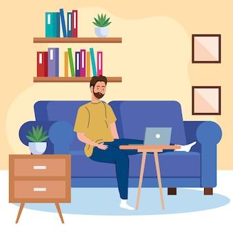Travail à domicile, homme indépendant avec ordinateur portable sur canapé, travaillant à domicile à un rythme détendu, lieu de travail pratique