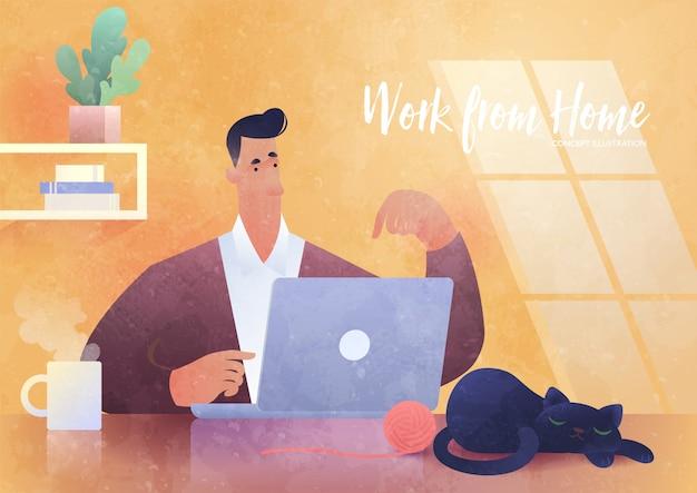 Travail à domicile, illustration de concept d'entreprise. homme utilisant un ordinateur portable travaillant à la maison avec un chat endormi à côté de lui. modèle de conception d'entreprise.