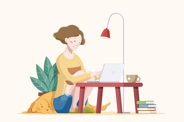 Travail à domicile illustration plat