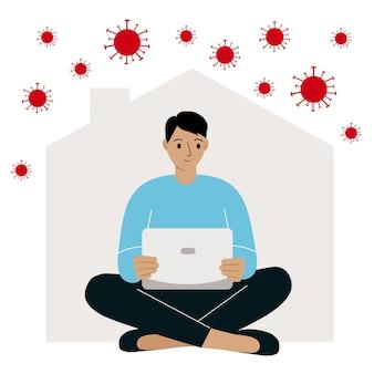 Travail à domicile pendant une épidémie de virus mesures de quarantaine pour la prévention du coronavirus