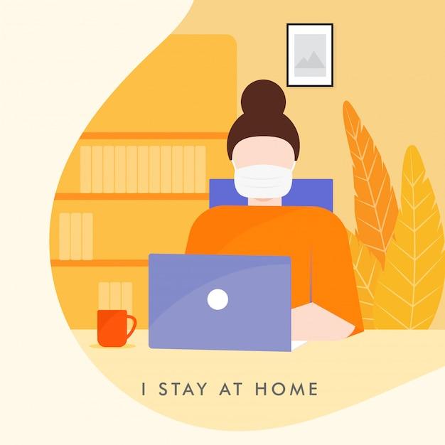 Travail à domicile en quarantaine. illustrations du concept de travail à domicile. les gens à la maison.