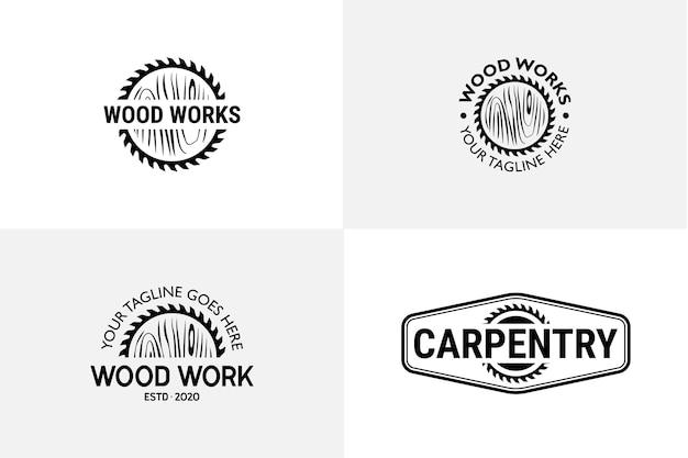 Travail du bois menuiserie logo modèle vectoriel vintage rétro