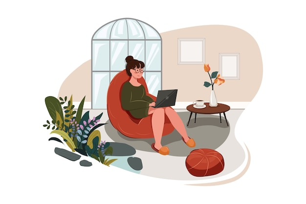 Travail du concept d'illustration à domicile
