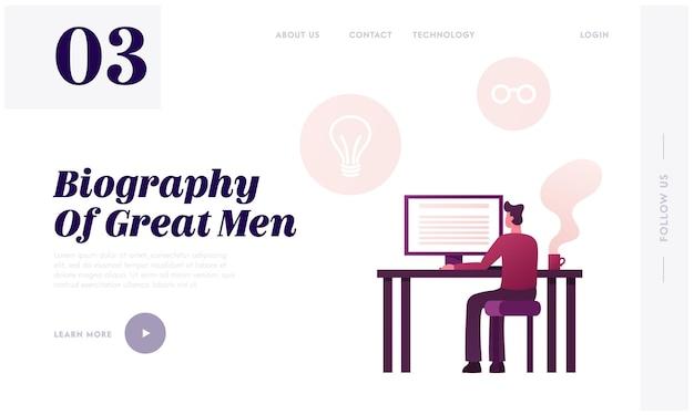 Travail d'écrivain sur un nouveau modèle de page de destination de livre de mémoires